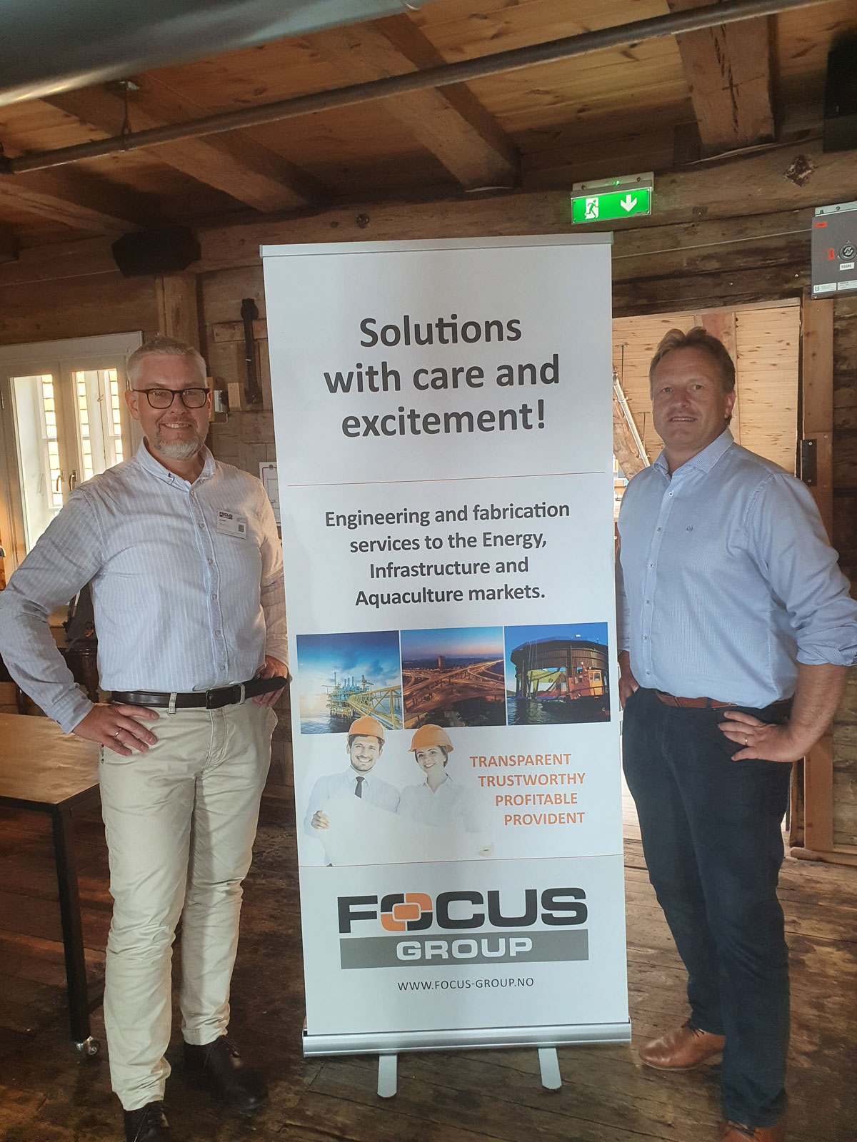 (Photo: Focus Engineering) From left Mr. Tore Bjørkås, CEO of Focus Engineering and Mr. Kristian Utkilen, Managing Director of Aragon, ready to proceed after a great kick-off in Bergen this week.